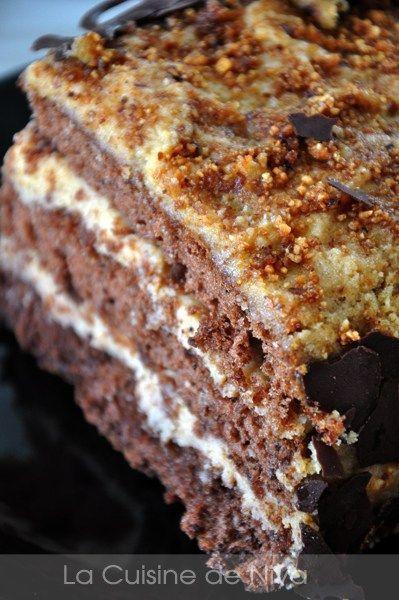 Intérieur génoise au chocolat mousse de mascarpone au praliné Plus