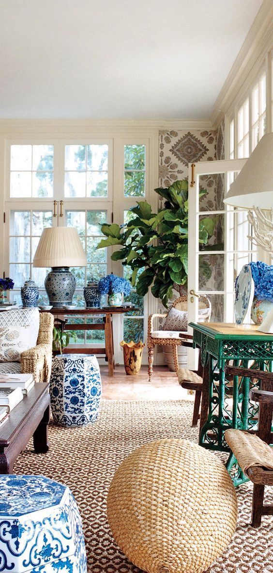 Sooo pretty! Blue and white with wallpaper and sisal