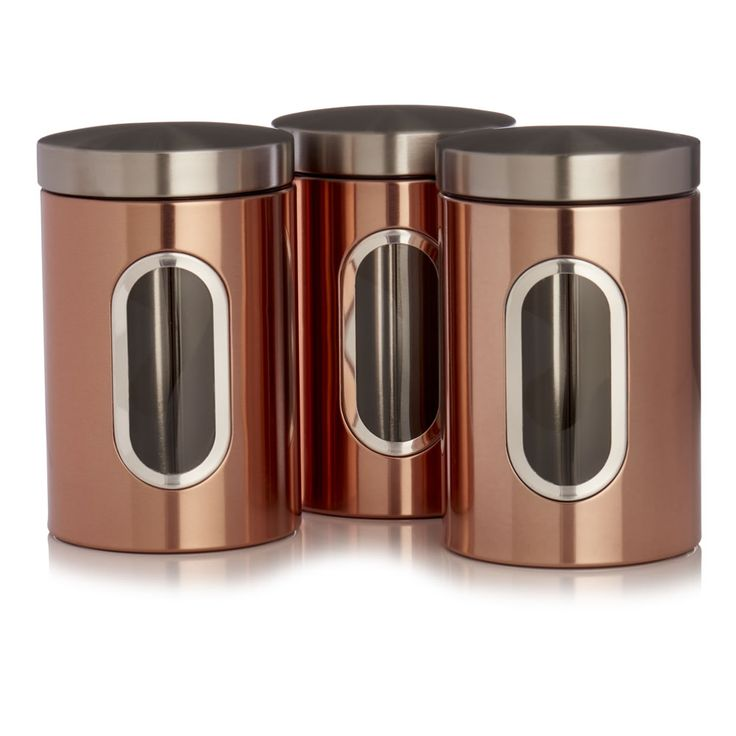 Wilko Tea and Coffee Canisters Copper Effect