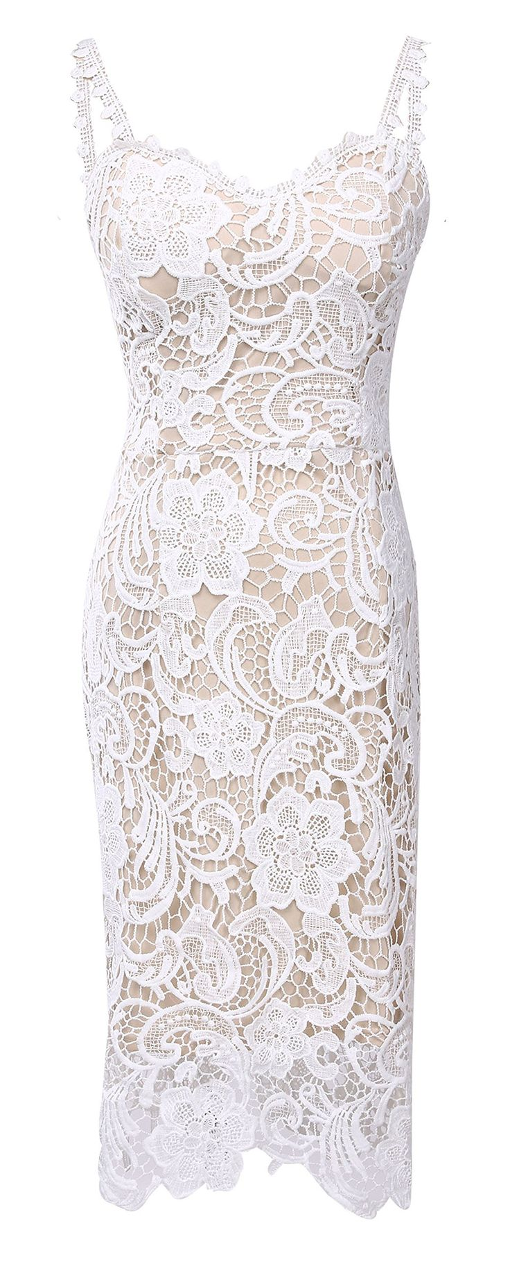 Women Elegant Sweetheart Neck Lace Crochet Midi Bodycon Sheath Waist Dress White XL