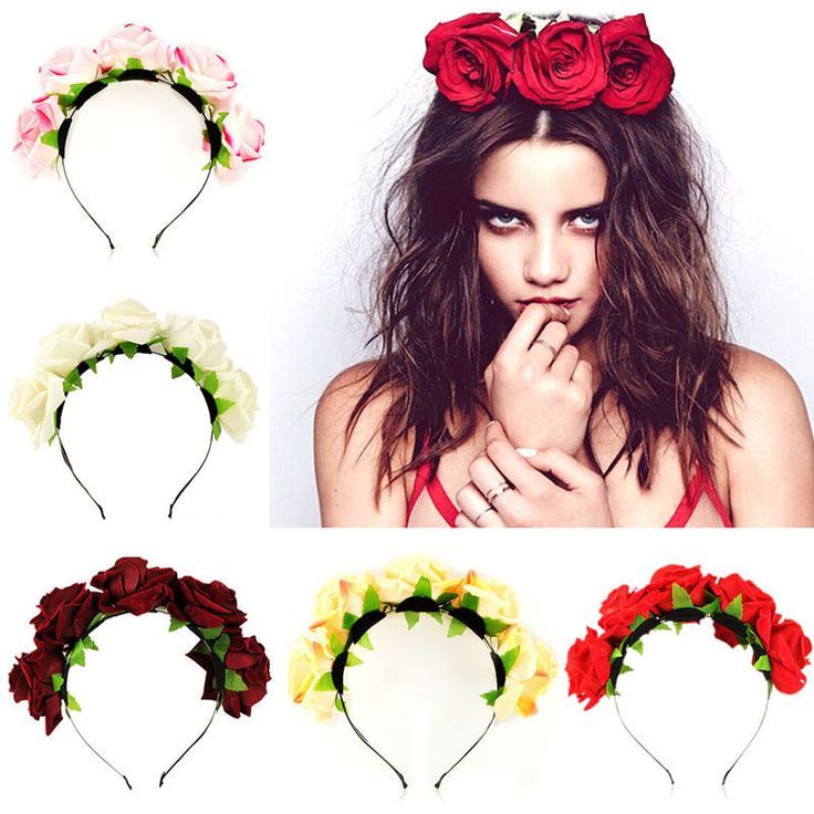 Cheap headwear, Buy Quality accessories cell directly from China headwear bandanas Suppliers:    Bride Floral Flower Crown Rose Headband Hair Decor Garland Festival Wedding Accessories Hairbands 5 Colors Handmade H