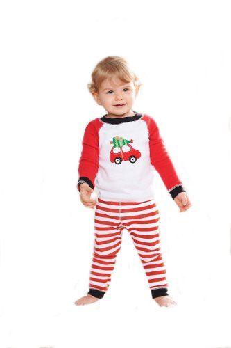 Boys Christmas Pajama Set Mud Pie Red Car Boys Holiday Lounge Set 12-18 months with Bracelet for Mom