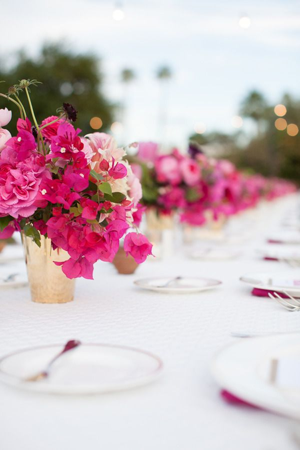 #tablescapes, #bougainvillea, #centerpiece  Photography: Birds of a Feather - birdsofafeatherphoto.com/ Planning + Design: Bash, Please - bashplease.com/ Floral Design: The Nouveau Romantics - thenouveauromantics.com  View entire slideshow: Favorite Color Palettes for Summer Weddings on http://www.stylemepretty.com/collection/416/