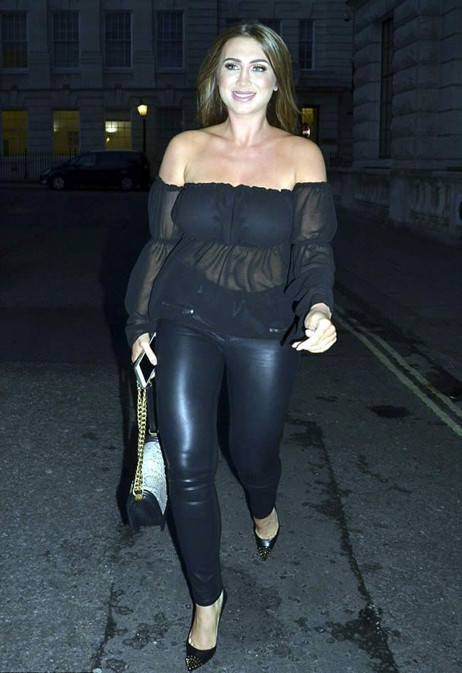 Lauren Goodger shows off her Curves in Sheer Top and Leather Leggings