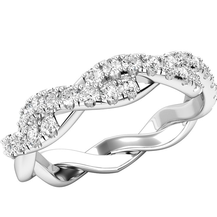 Inel Eternity/ Verigheta cu Diamant Dama Aur Alb 18kt cu Briliante Rotunde si Design Impletit Model.#: RD728W