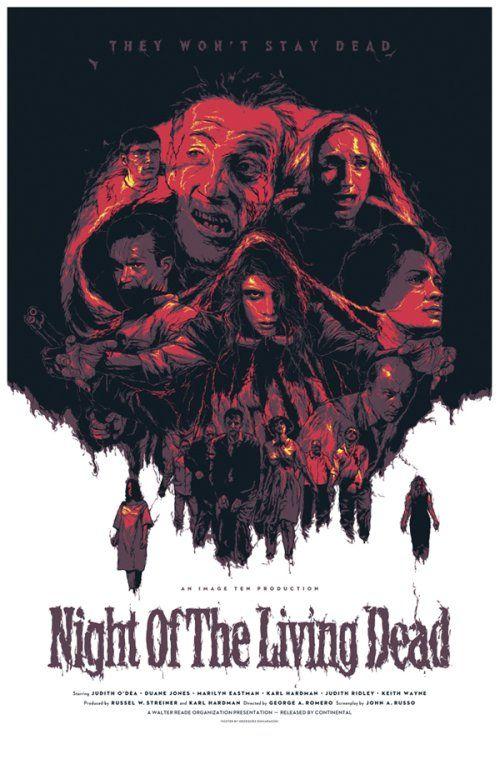 As ilustrações de cartazes de filmes de Grzegorz Domaradzki - Night of the Living Dead (A Noite dos Mortos-Vivos)