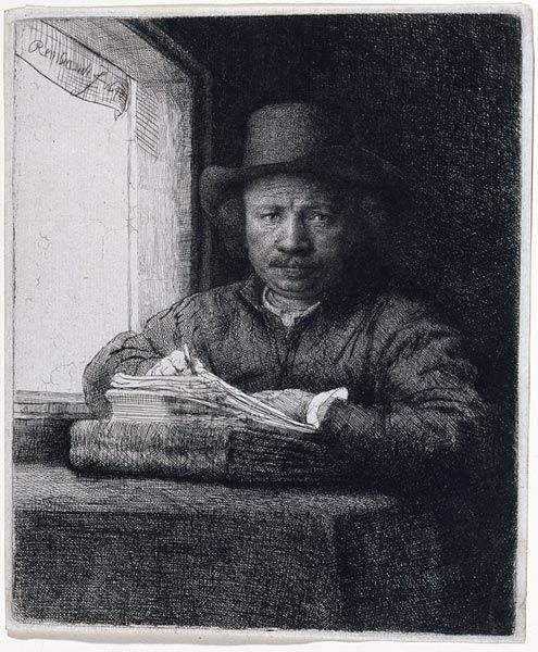 Rembrandt Harmenszoon van Rijn / Self-Portrait, Drawing at a Window, 1648 / Etching, drypoint and burin, state II