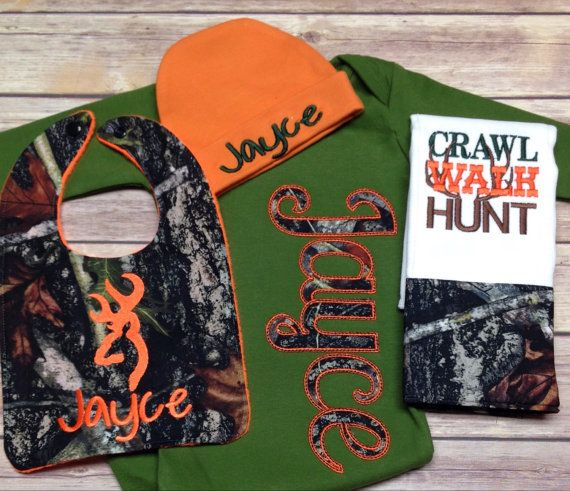 #CamoBaby set #Personalized Layette Gown with Beanie Heat are great for the brand new baby and make a baby shower gift