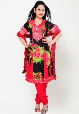 Black coloured suit set from the house of Archisha. Salwar, kameez and dupatta in the embellished suit set are made of cotton blend. Kurta has a knee length, short sleeves and V-neck. This ethnic suit set from the house of Archisha is meant for those who like to make distinct style statement. Featuring beautiful floral embroidery on the neck and flair, this anarkali suit set will highlight your femininity.