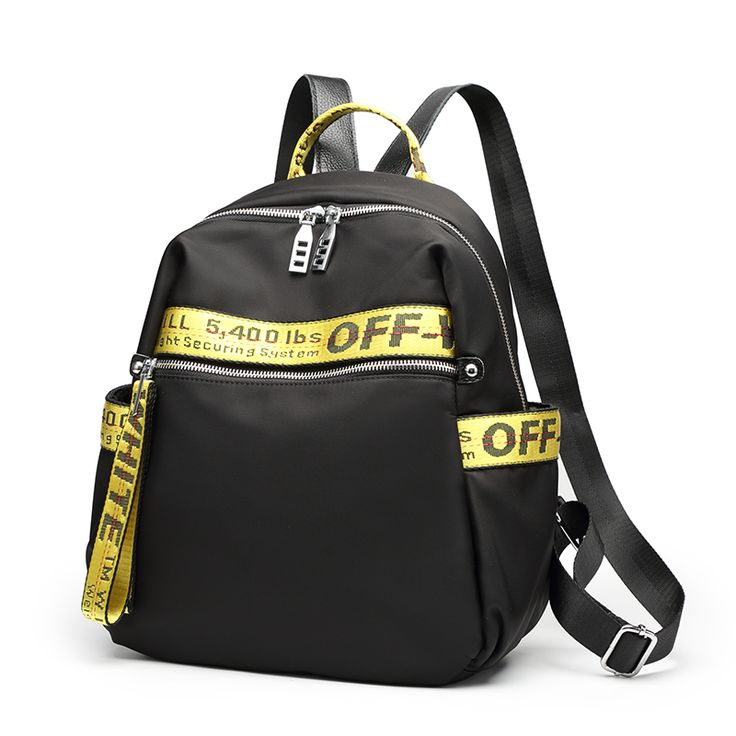 Fashion Black Backpack & Gold Streifen und Band mit gedruckten Buchstaben