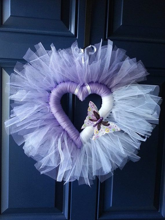 Tulle heart wreath