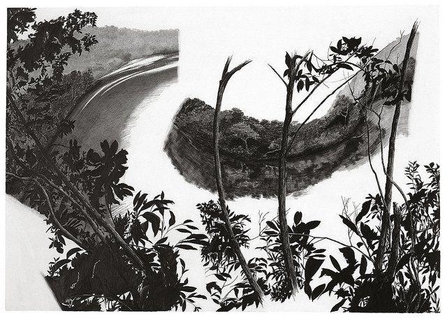 """francisco faria - spread on """"rio verde"""", pencil on paper, 1999, 70x100cm."""