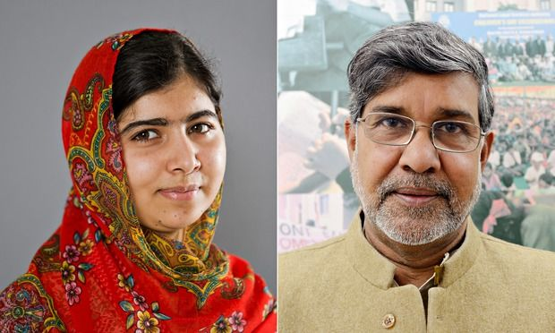 Congrats to Pakistani Malala Yousafzai and Indian Kailash Satyarthi on winning the 2014 Nobel Peace Prize for their humanitarian efforts surrounding children's rights, especially education.