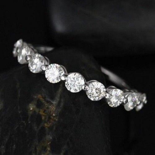 1.00 TCW Diamond 925 Sterling Silver Half Eternity Band Fabulous Wedding Ring