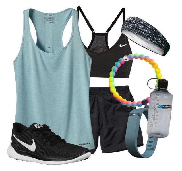 """WORKOUT"" by sydneymmiller ❤ liked on Polyvore featuring Patagonia, NIKE, Fitbit, Nalgene and lululemon"