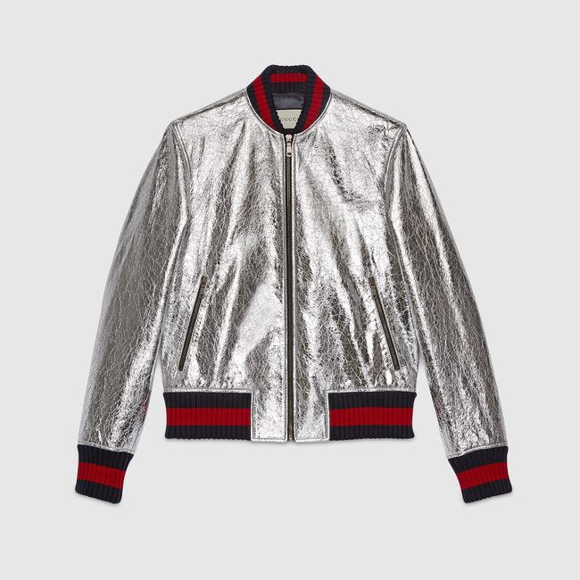 Gucci Men's crackle metallic silver leather bomber jacket $3350. 2500 EUR for women's version.