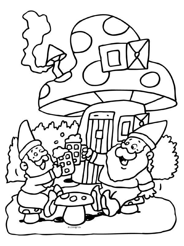 Kleurplaat Kabouter Met Paddestoel 8636 Gif 600 215 800 Pixels Kabouter Feestje Kleurplaten