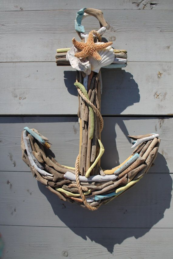Driftwood Anchor with Seashells Nautical Anchor