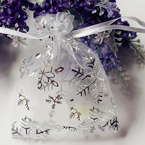 50 PCS Christmas Snowflake Organza Pouch Wedding Favour Gift Drawstring Candy Bag *** Visit the image link more details.