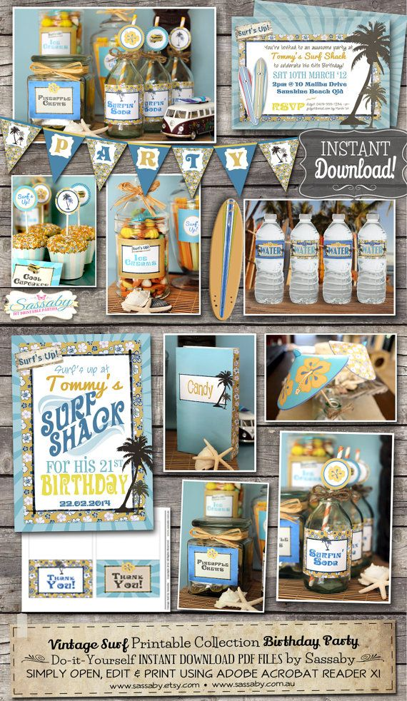 Vintage Surf Party Collection - INSTANT DOWNLOAD - Editable & Printable Birthday Party Decorations  by Sassaby