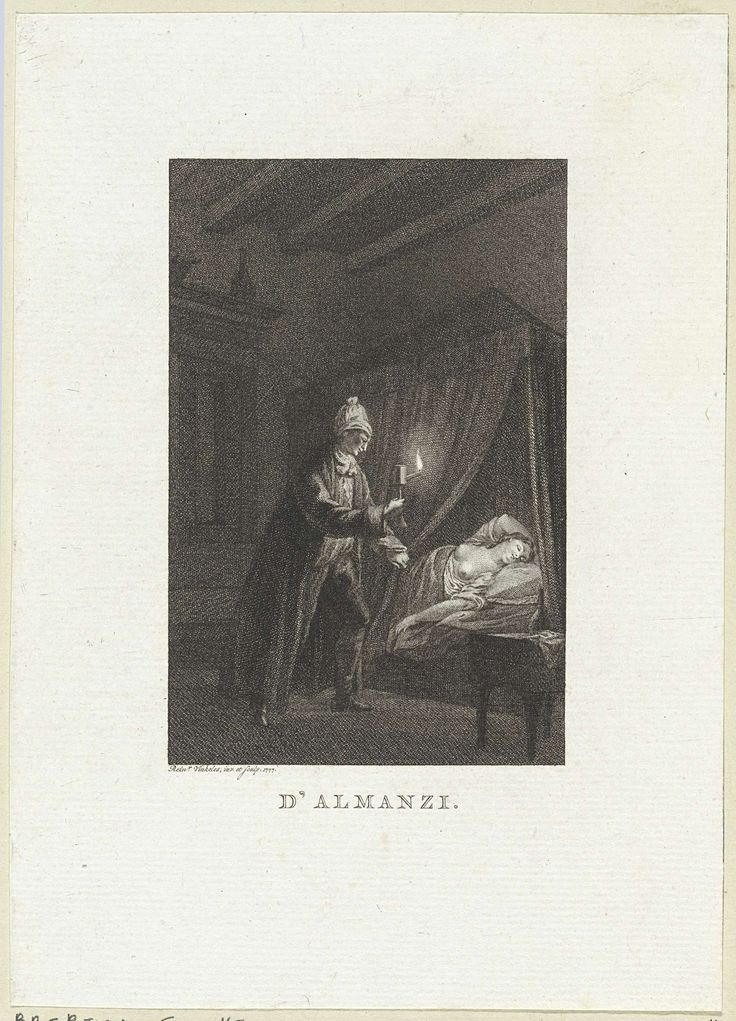 Reinier Vinkeles | Man bekijkt een vrouw met ontbloot bovenlijf, Reinier Vinkeles, 1777 | In een slaapkamer bekijkt een man, bij het licht van een olielamp, het ontblote bovenlijf van een slapende vrouw.