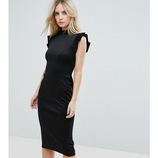 Asos lace back black bodycon midi dress