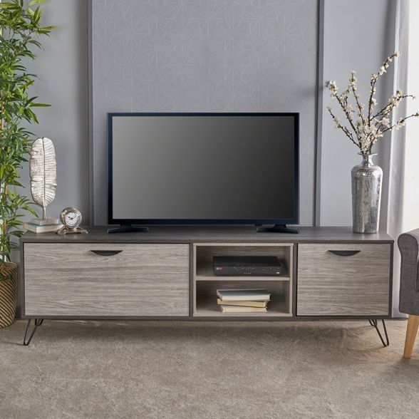 Isadora 71 Mid Century Tv Stand Sonoma Gray Black Christopher Knight Home Tv Stand Wood Tv Stand Decor Living Room Midcentury Tv Stand
