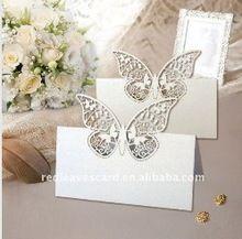 120pcs Лазерная резка Weding Butterfly место карты на столе в размер 9 * 9 см в Pearlescent белая бумага(China (Mainland))