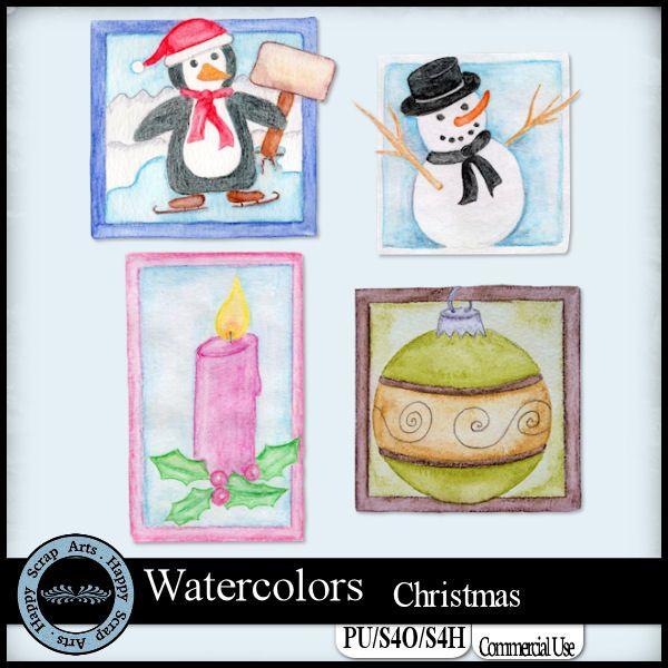 EXCLUSIVE Watercolors Christmas by Happy Scrap Arts