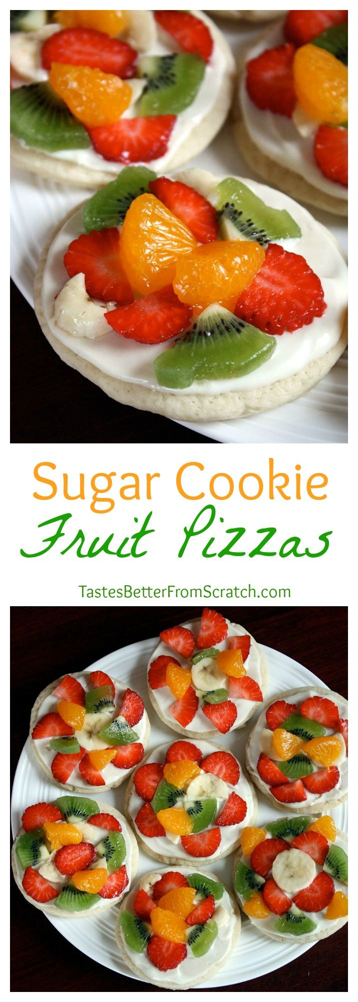 Sugar Cookie Fruit Pizzas--a super soft sugar cookie with whipped frosting and fresh fruit. My kids love helping me make these! On MyRecipeMagic.com