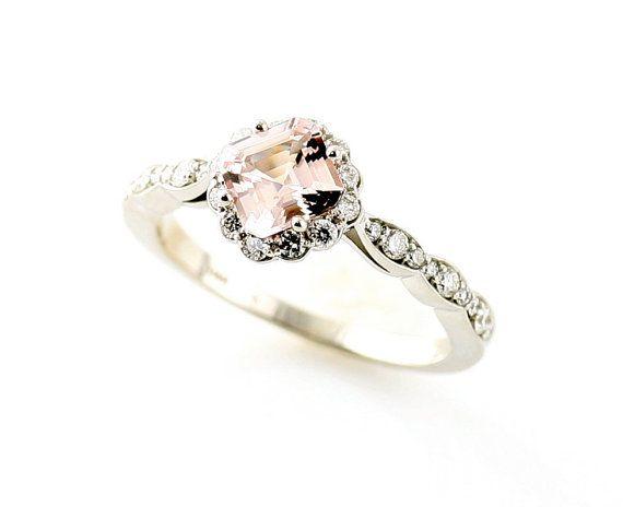 morganite ring from etsy.  pretty: Diamond Engagement Rings, Asscher Morganite, Morganite Ring, Morganite Diamonds, Bridal Jewelry, Custom Diamonds Rings, 14K Asscher, Pink Diamonds, Diamonds Engagement Rings