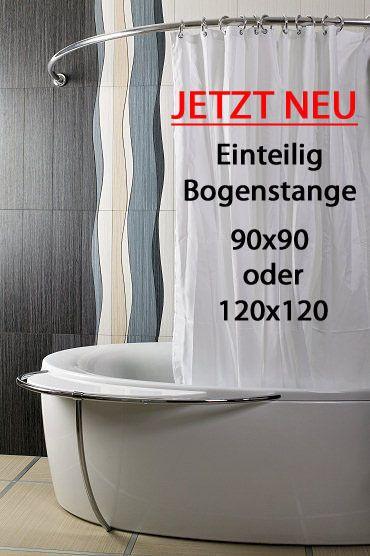 ALU EINTEILIG Duschvorhangstange Bogenstange 120 x 120 Weiß Oval Eckduschstange in Möbel & Wohnen, Badzubehör & -textilien, Duschvorhänge   eBay!