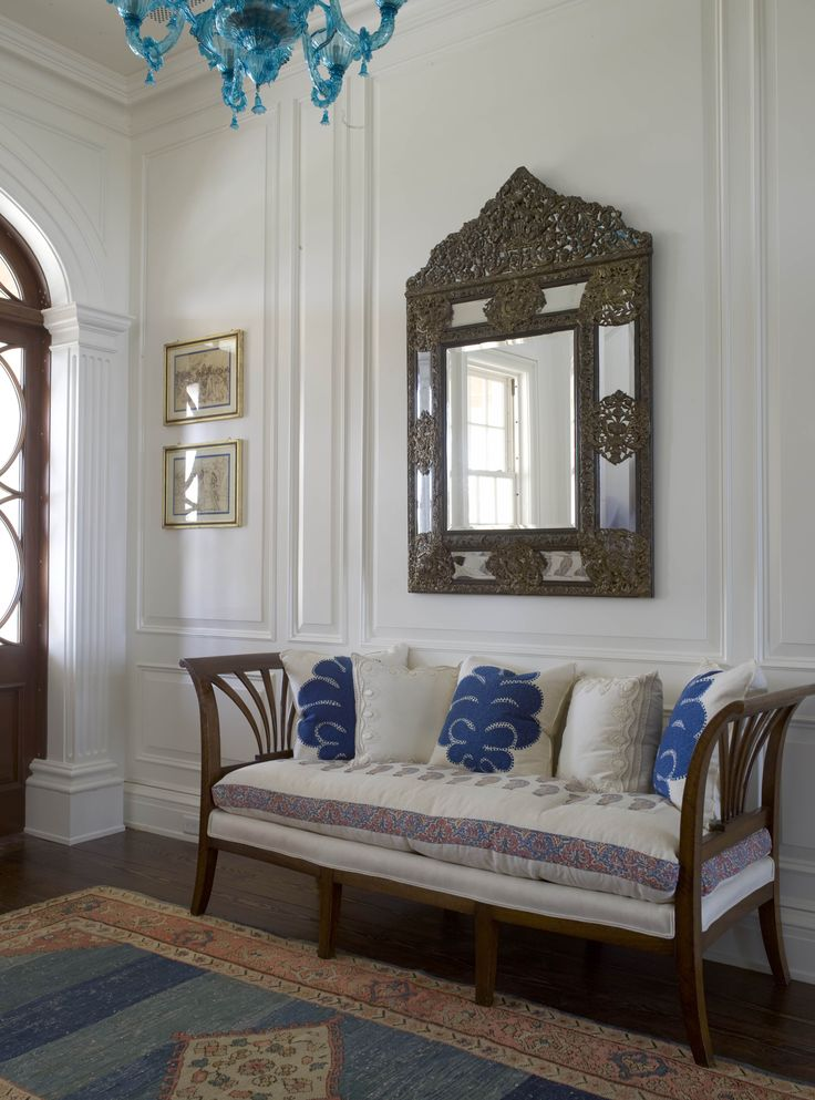 entrance hall, fabric on bench