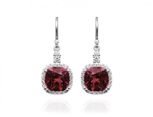 Garnet and Diamond Earrings : Rohan Jewellery