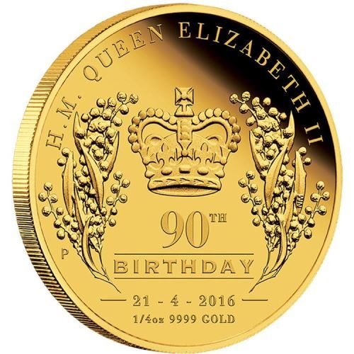 Her Majesty Queen Elizabeth II 90th Birthday 2016 1/4oz Gold Proof Coin | The Perth Mint