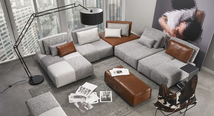Tissu gris à motifs et cuir caramel. Choix de configurations.
