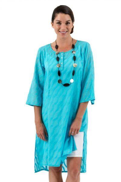Spirituelle Cotton Dobby Shirt Dress Aqua