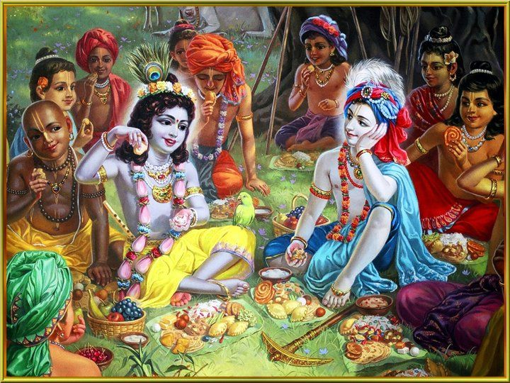 Krishna Taking Lunch with Gopas http://iskconbirmingham.org/congregation/how-to-offer-food-to-krishna