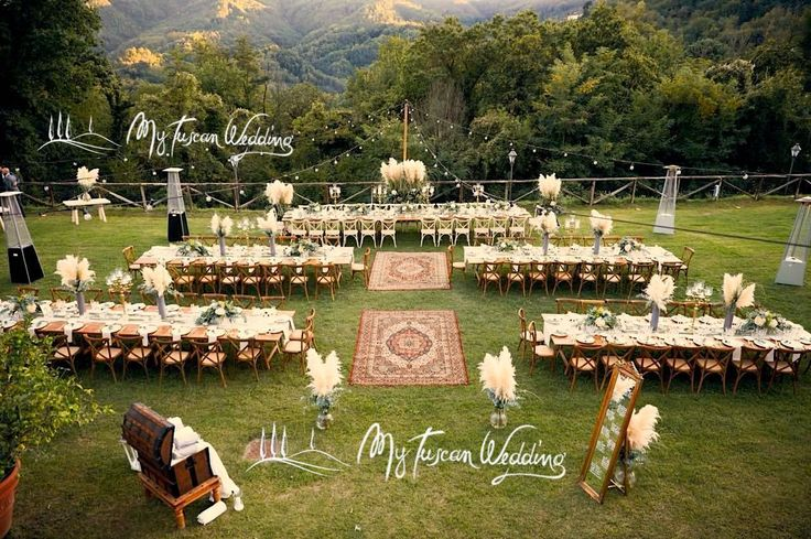 Pampas grass, Persian carpets and an abundance of eucalyptus set the stage for this dramatic tuscan wedding.