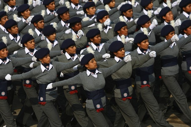 Female members of the National Cadert Corps (NCC) march during the Republic Day Parade on January 26, 2009, in New Delhi, India.