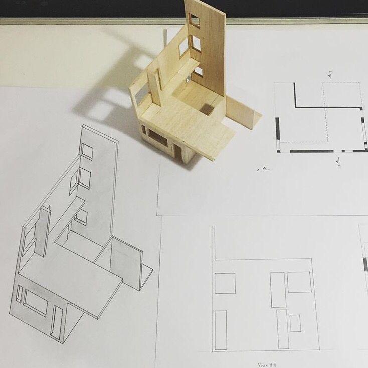 Pieza de la obra del referente + Monge (Planta/Vista) + Axonométrica. (Ville La Roche - Le Corbusier) (1:50)
