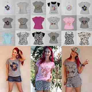 Atacado 5 T-shirt Camiseta Blusa Estampada Mickey Personagem - R$ 120,00