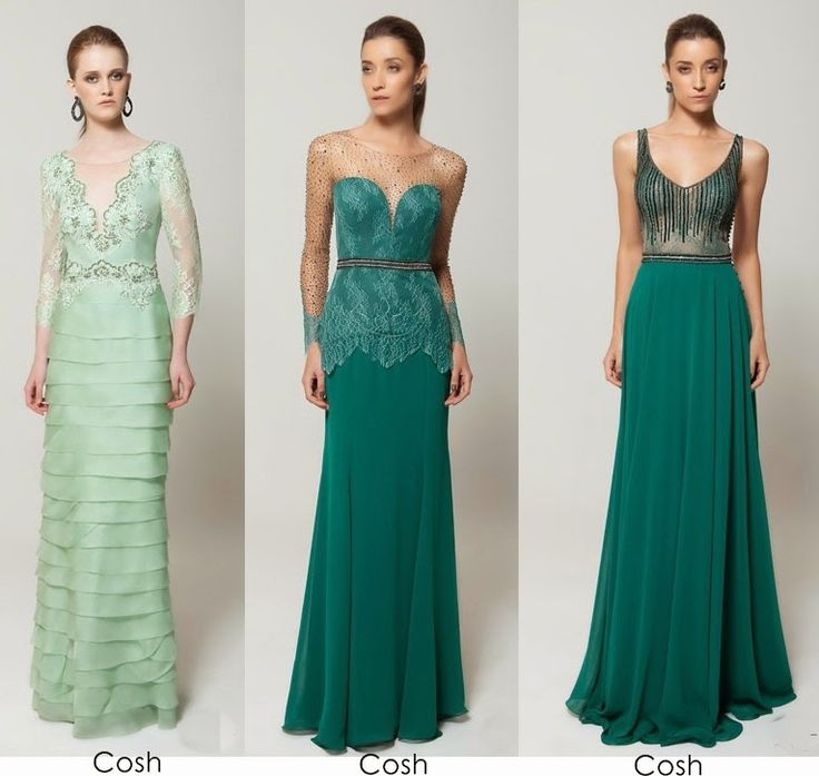 Vestido de festa longo verde de renda