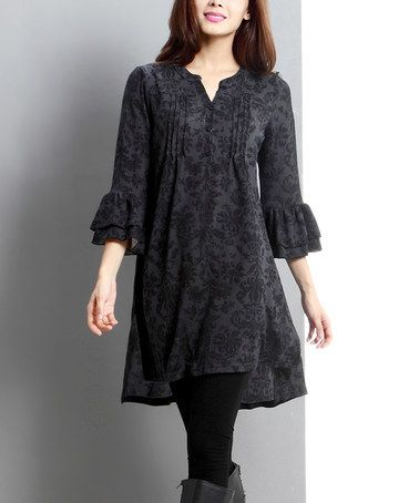 Love this Charcoal Damask Notch Neck Hi-Low Tunic on #zulily! #zulilyfinds