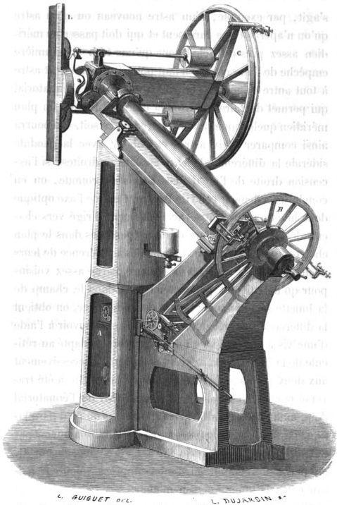 Pied parallactique construit pour le dôme rotatif de l'observatoire de Paris #astronomie #LivreAncien