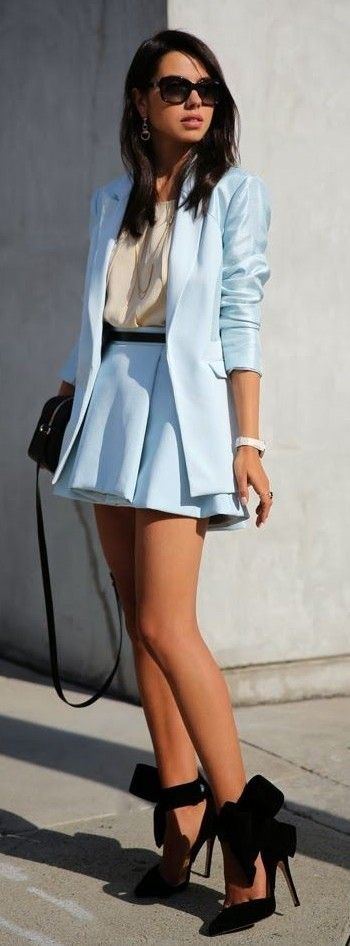 Light Blue Satin Blazer, Cream Blouse, Light Blue Box Pleated Skirt, Black Bow Pumps  Vivaluxury