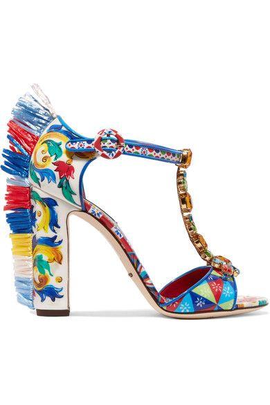 Dolce & Gabbana | Bianca raffia-trimmed embellished printed patent-leather sandals | NET-A-PORTER.COM