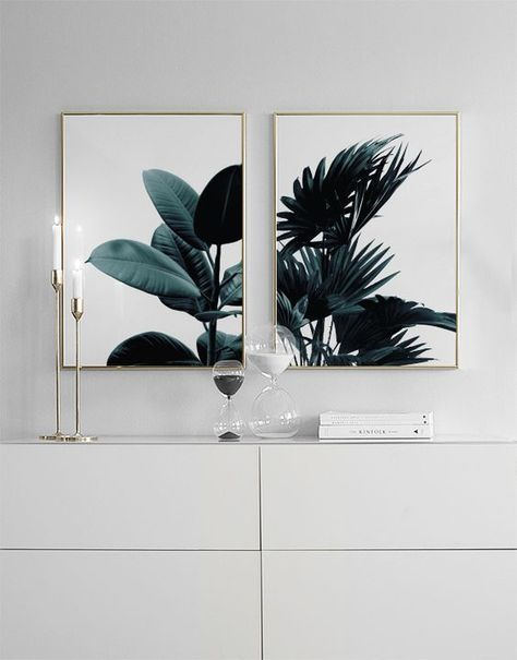 Simple Green Plant Palm Leaves Poster