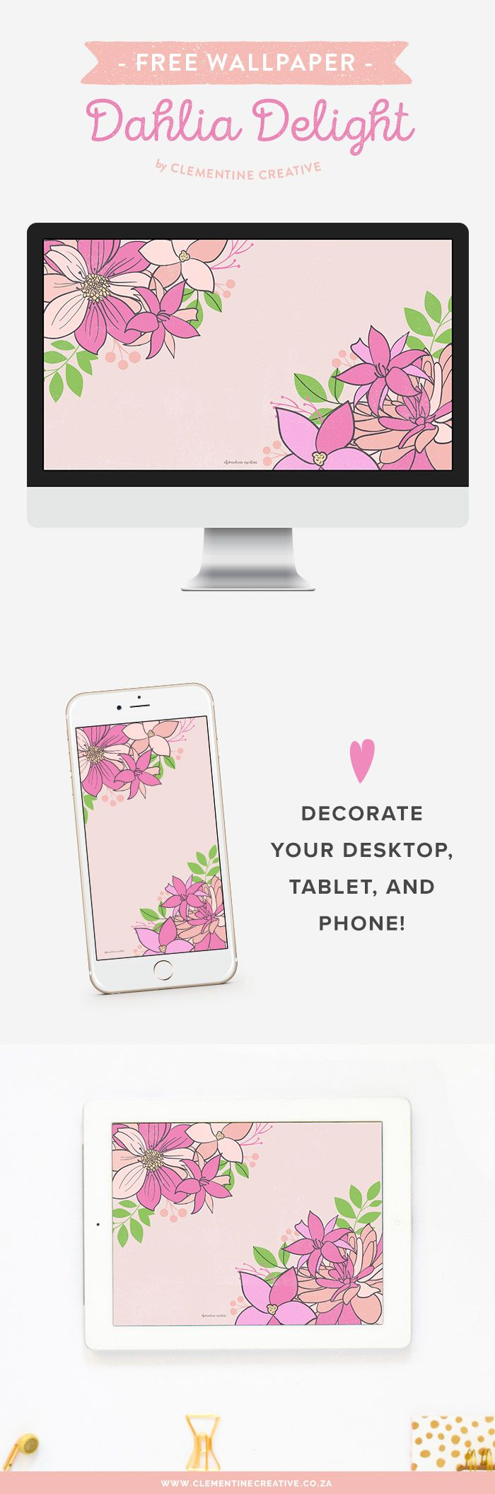 Free wallpapers for your phone desktop and tablet free wallpaper dahlia delight in peach and pink voltagebd Images