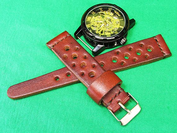Handmade Rally Omega Watch Strap brown leather, Unisex black watch strap 18mm, 20mm, 22mm, 24mm, Leather watch strap Brown Itallian Leather, Watch Strap 100% handmade watch strap. Rally Strap was designed for the racing enthusiast. Handsome looking on a Omega, Breitling, Rolex, Panerai, Chopard , Audemars, Seiko, or whatever watch you have. This is our new style strap and because I got too many request from my customers that looking for the rally strap / racing strap.The strap with the m...
